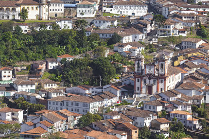 View of the unesco world heritage city of Ouro Preto in Minas Ge