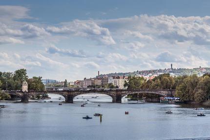 Vltava river and bridges in Prague bird view panorama