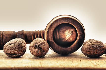 Walnuts and old wooden nutcracker