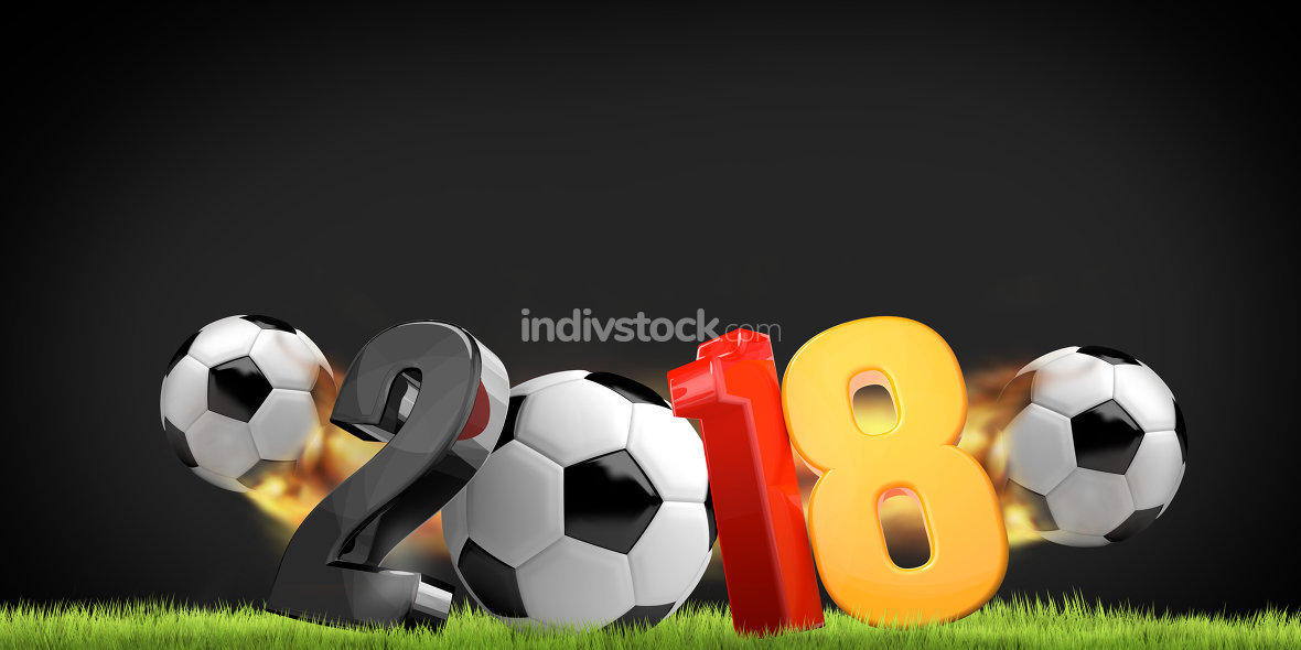 2018 Germany colorful 3d render symbol with balls and flames