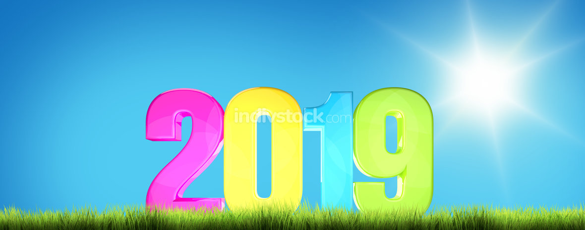 2019 blue clear sky background 3d render