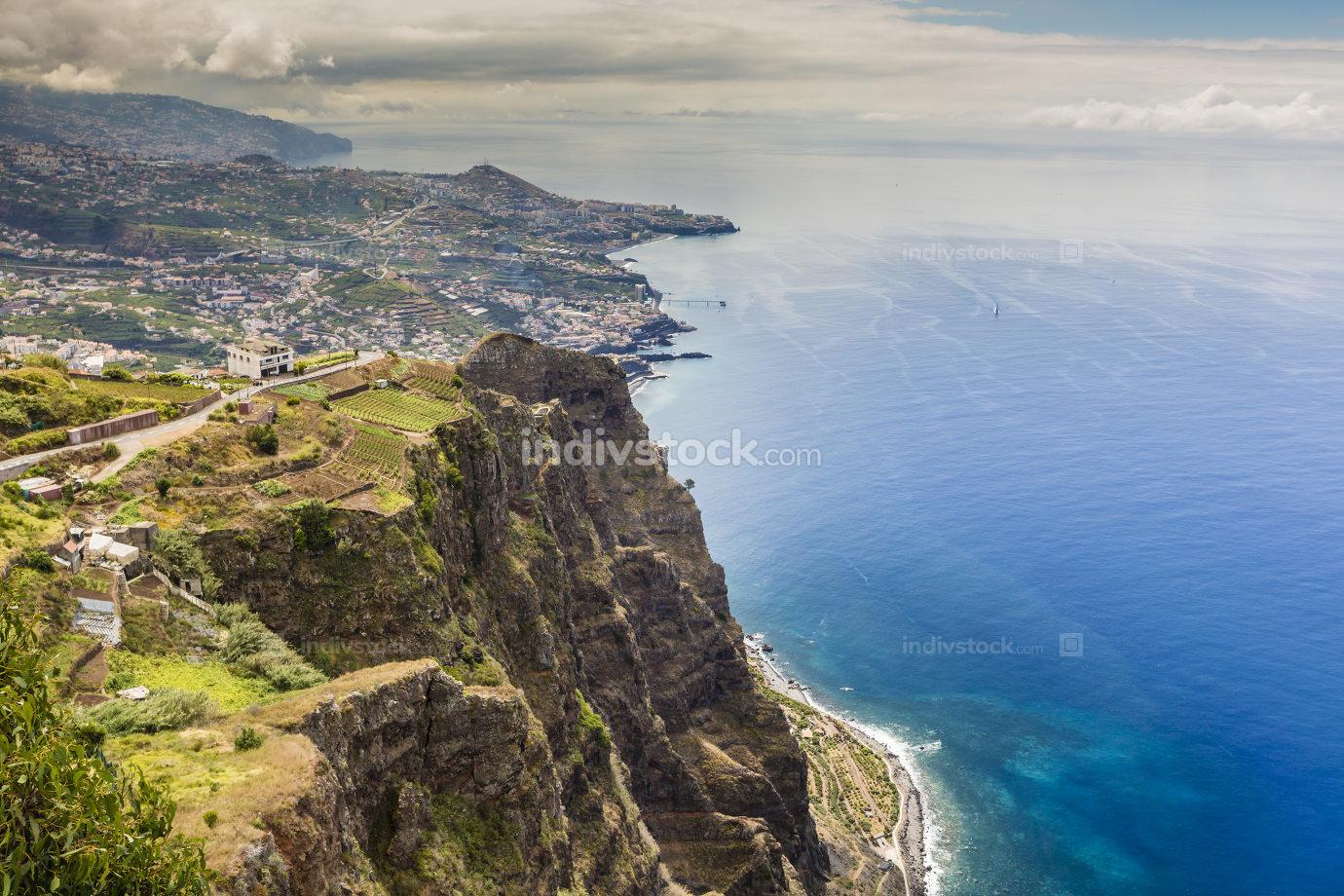 600 Meter high cliffs of Gabo Girao at Madeira Island, Portugal