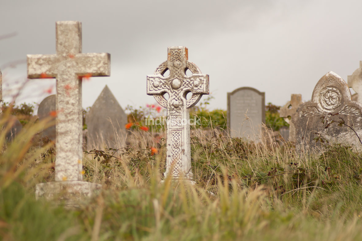 A gravestone on a Irish graveyard