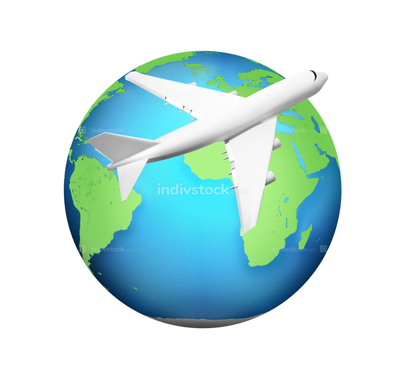 airplane with green blue planet earth 3d render. Elements of thi
