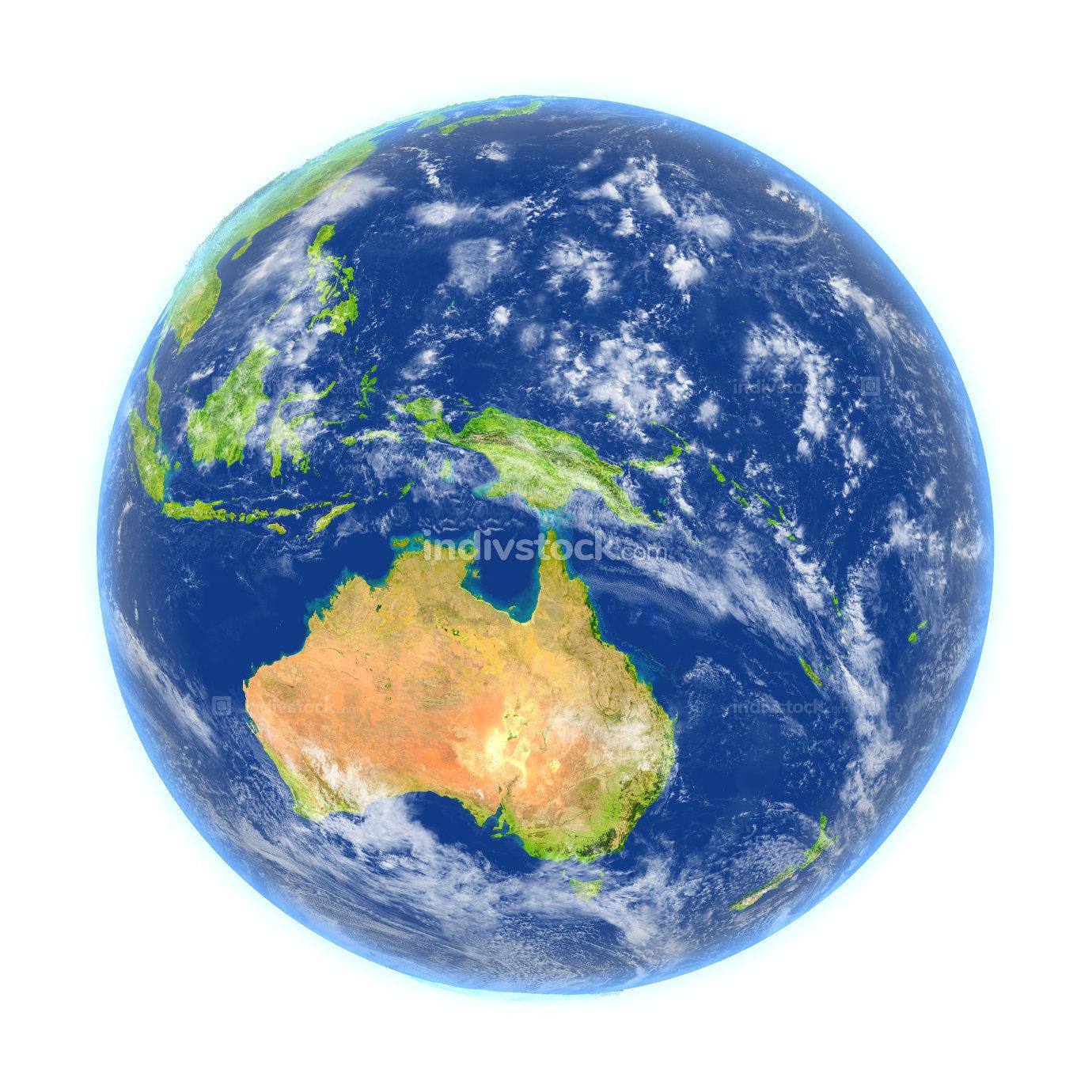 Australia on Earth isolated on white