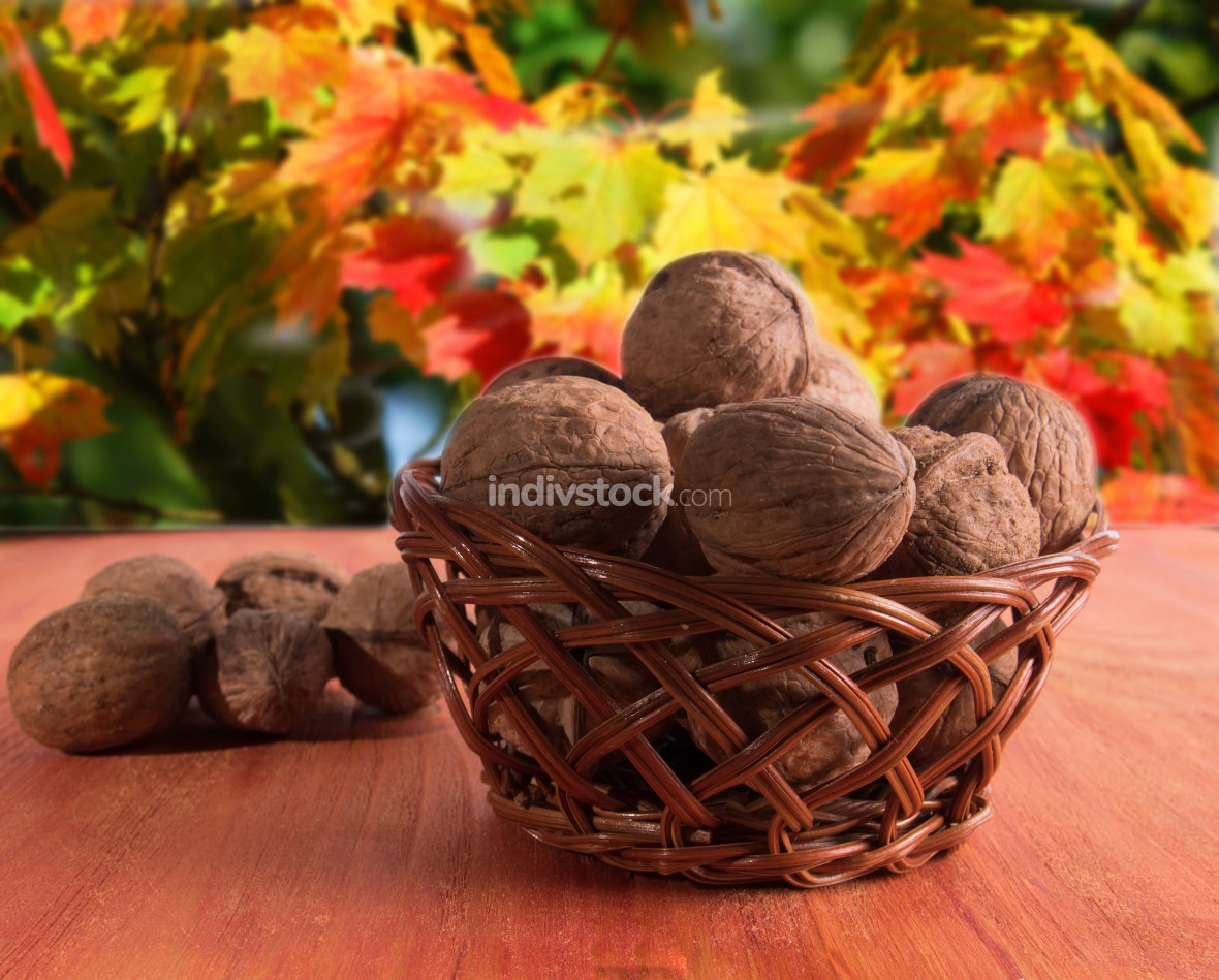 Basket with walnuts. The background is blurred.