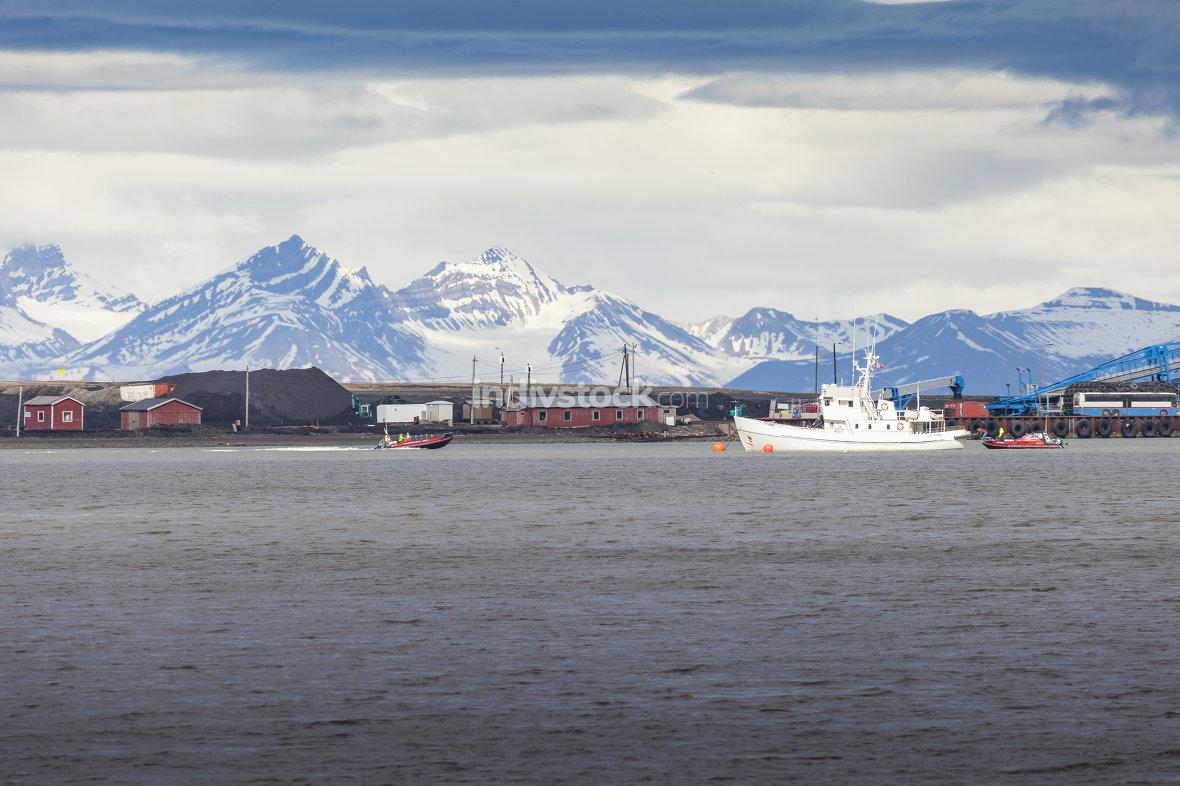 Beautiful scenic view of Longyearbyen (Svalbard island), Norway