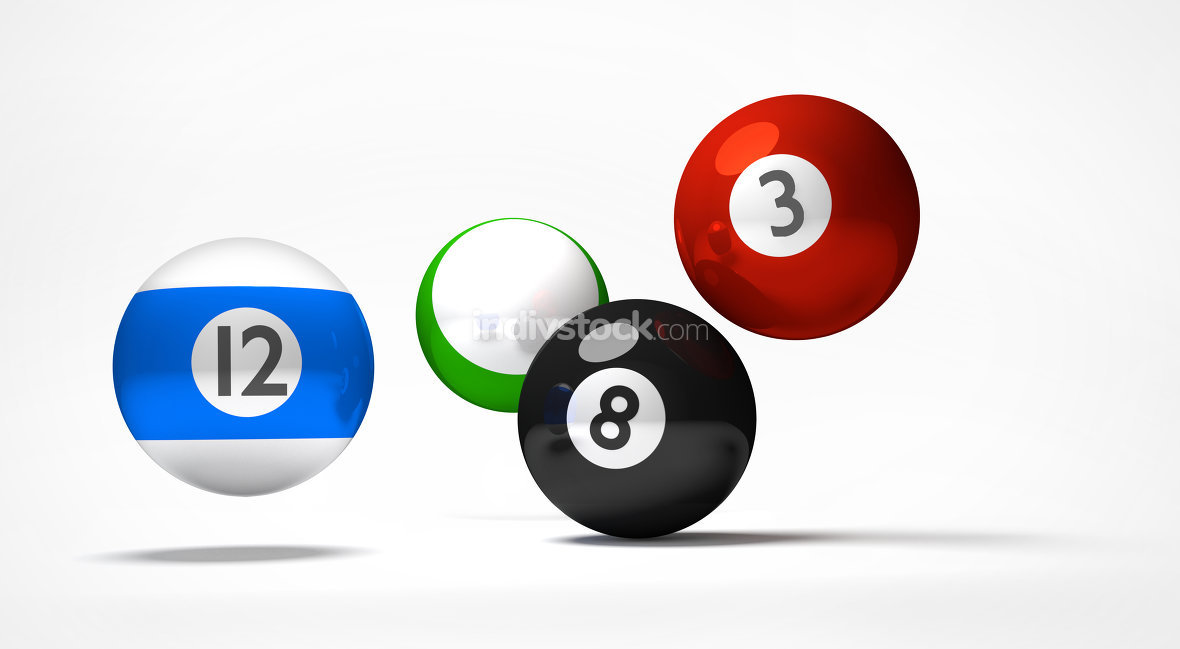 billiard balls 3d render