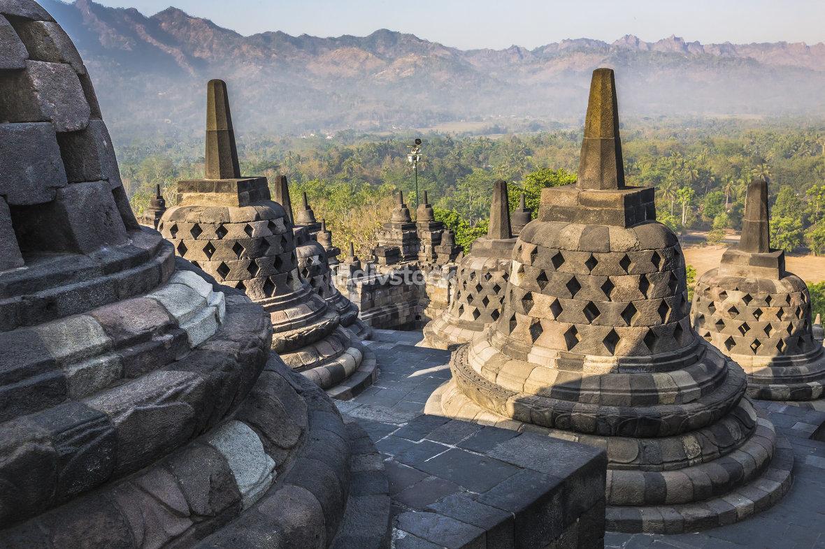 Buddist temple Borobudur on sunset background. Yogyakarta. Java,