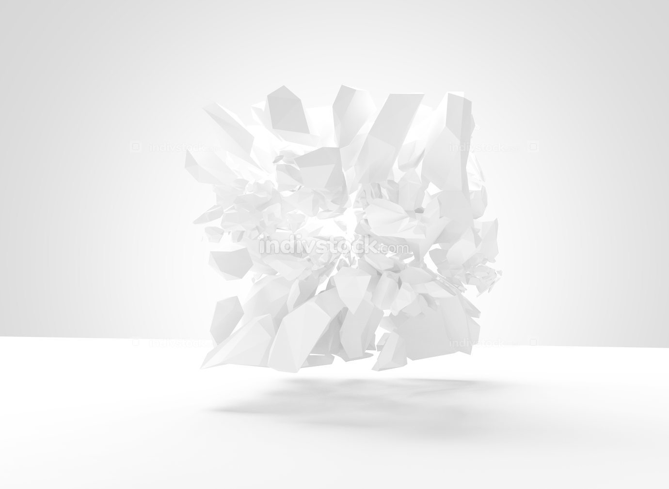 bursting object 3d render