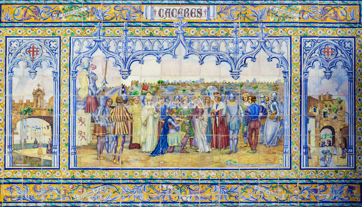 Caceres Province, Glazed tiles bench at Spain Square, Seville