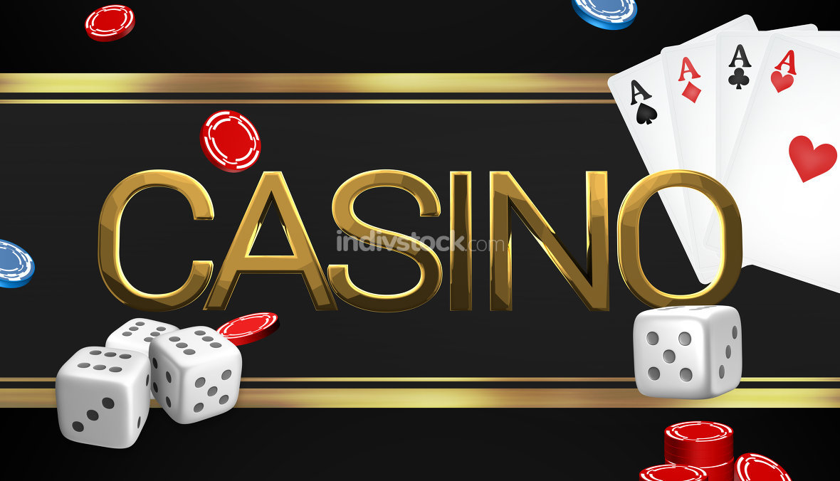 casino dices poker theme 3d render