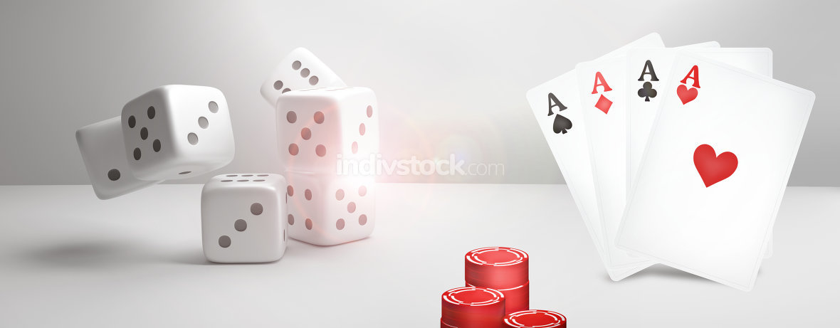 Casino Poker 3D Render. Poker Cards Game