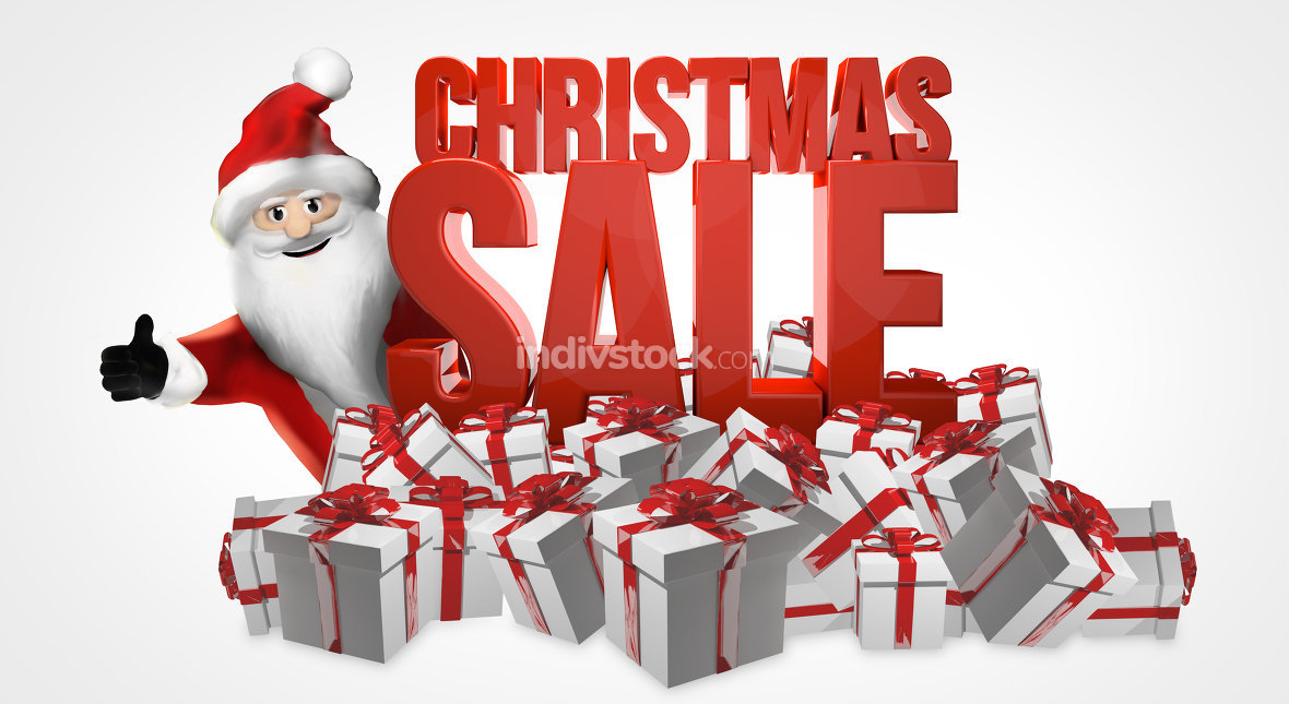 christmas sale 3d render with santa claus