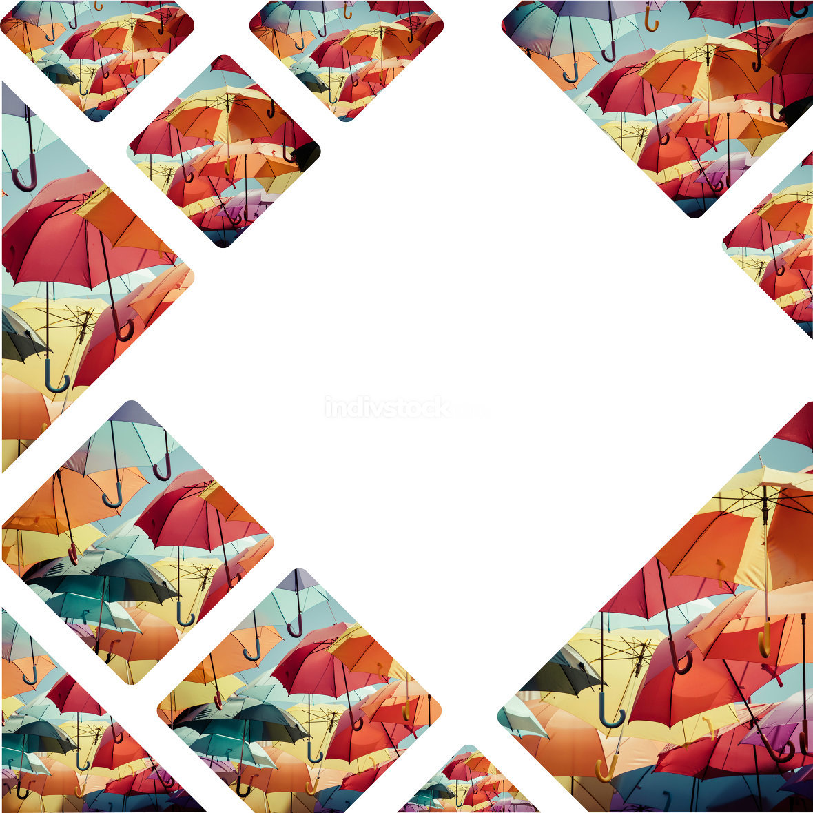 Collage of colorful umbrella street decoration.