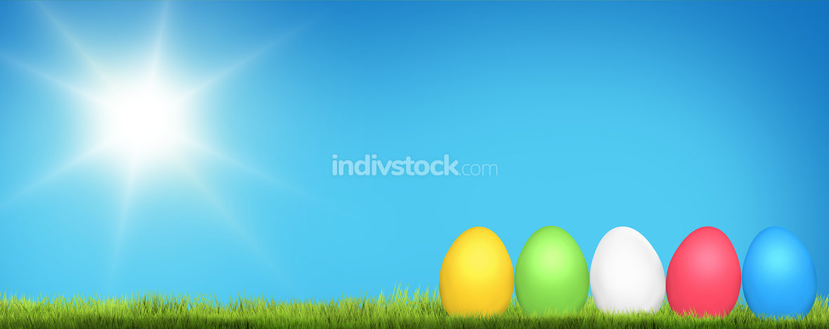 colored easter eggs 3d render