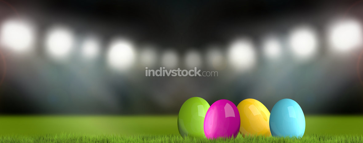 colored easter eggs 3d render green grass easter background