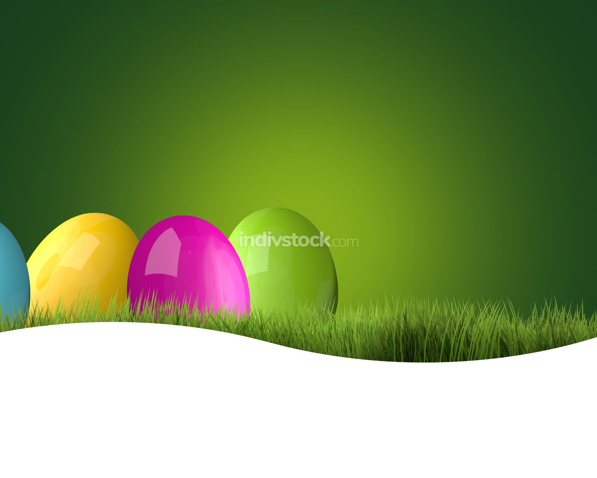 colorful easter eggs green grass 3d render