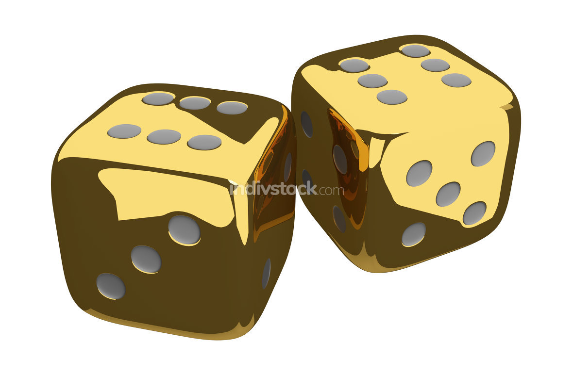 cubes dices gold golden 3d render
