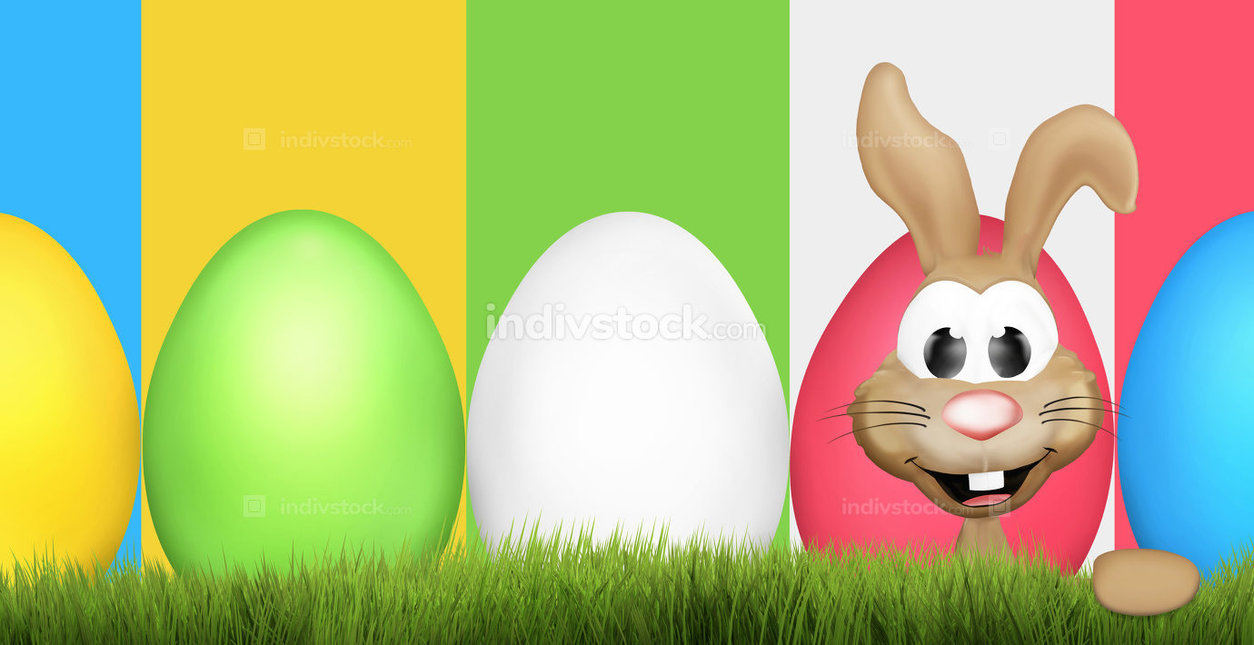 cute easter bunny and easter eggs 3d rendering