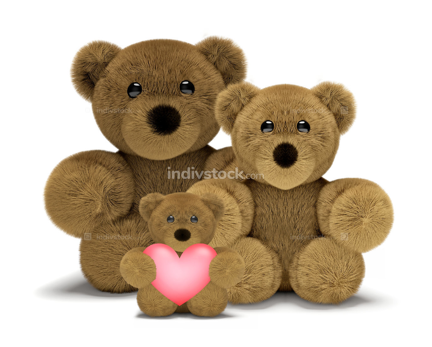 cute teddy bear family with mum, dad and child 3d render