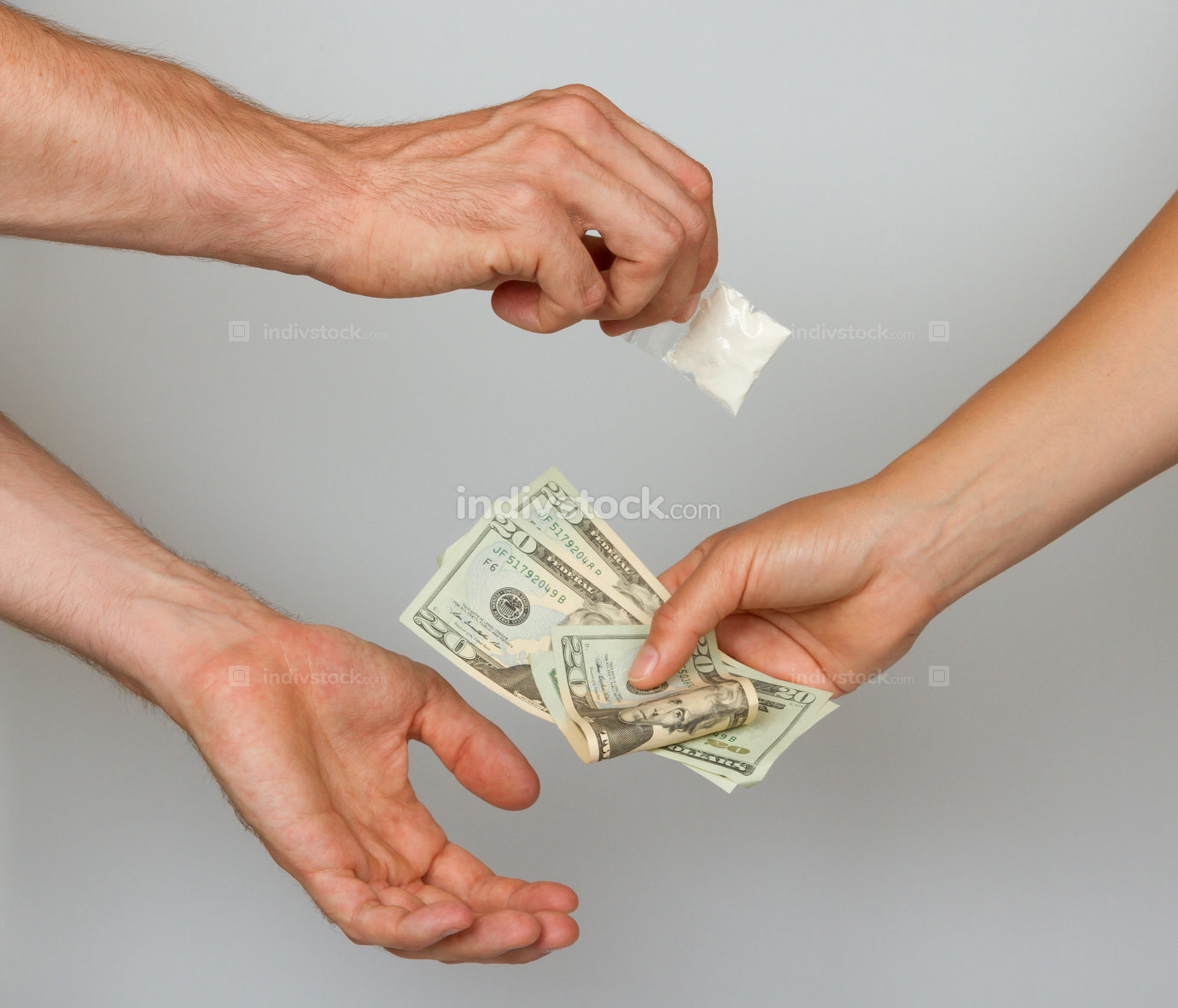 Dealer (man) selling cocaine drugs bag to a paying woman