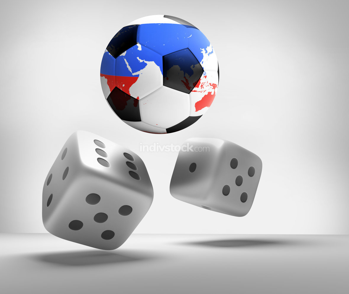 dices and soccer balls 3d render.