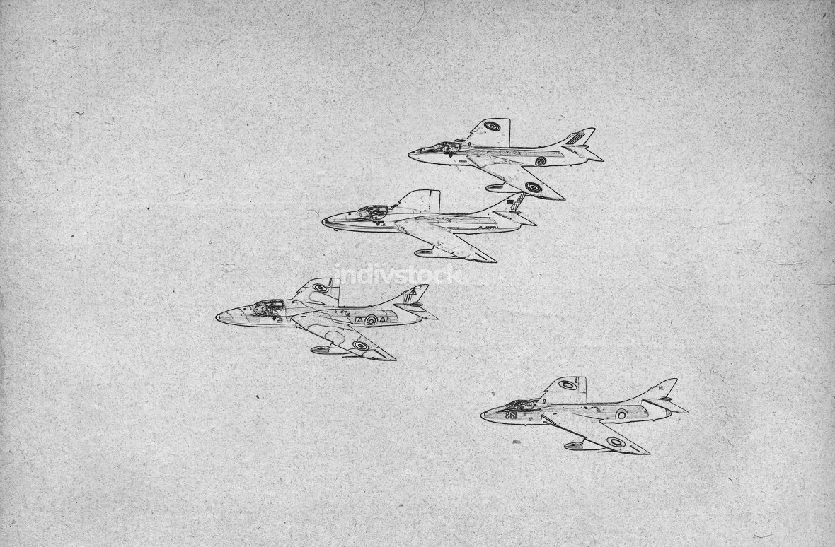 Drawing of fighter jets