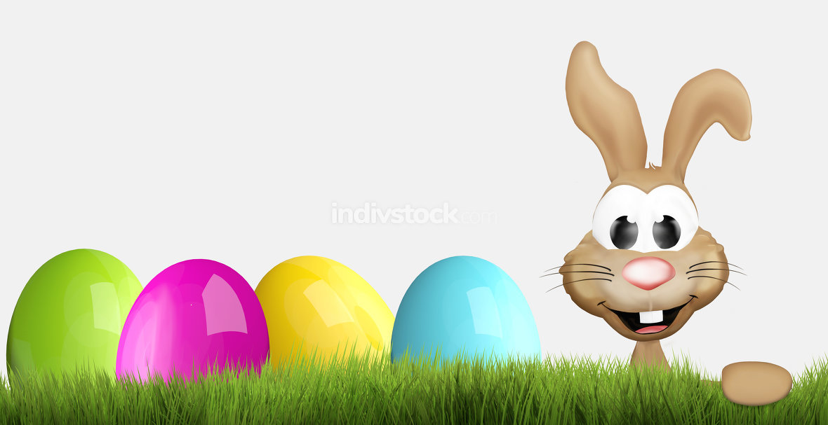 easter bunny and easter eggs 3D render
