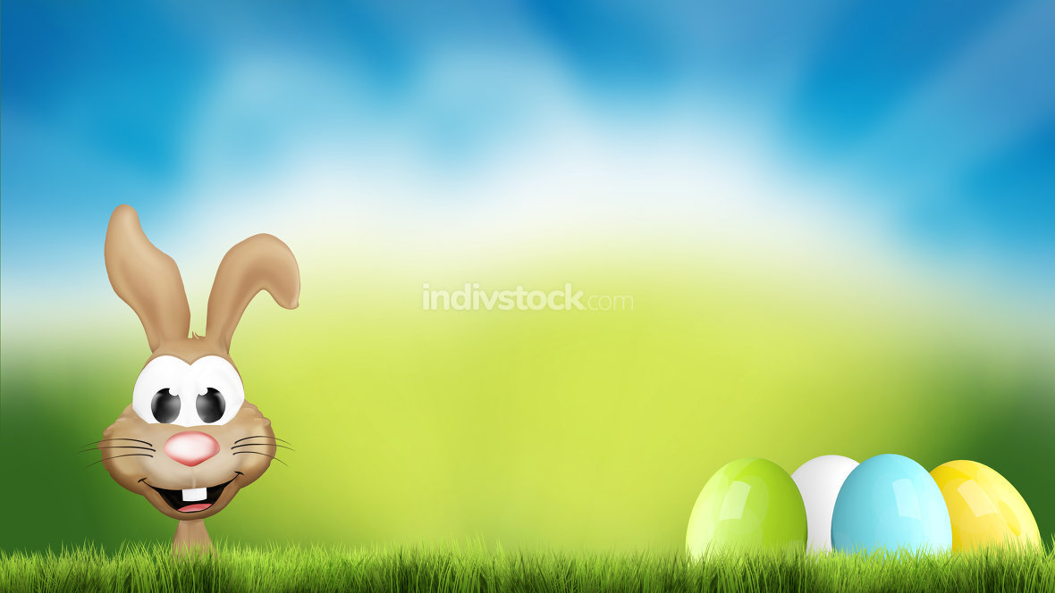 easter bunny and easter eggs hidden outdoor garden 3d render