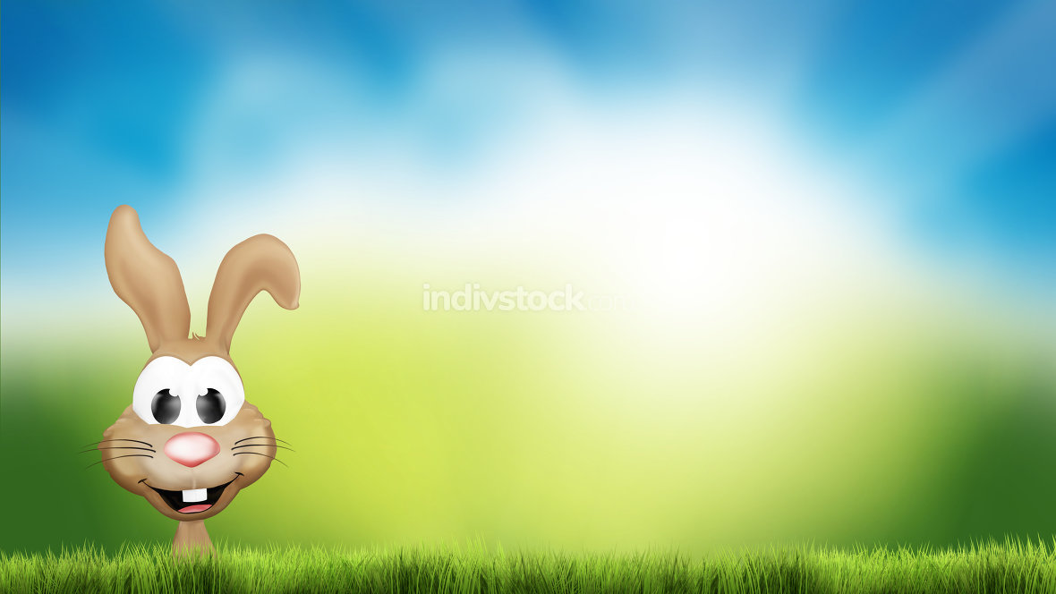 easter bunny hidden behind green grass 3d render