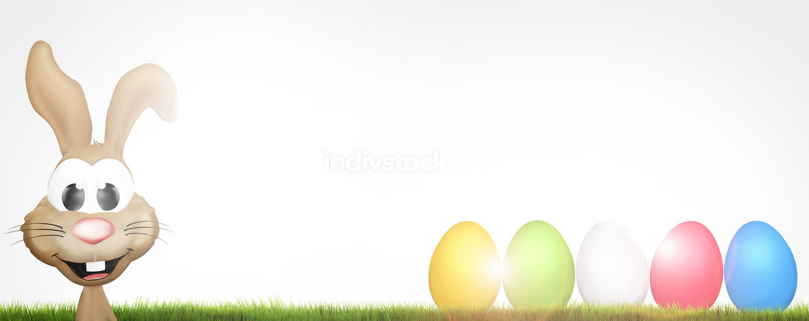 easter eggs and easter bunny 3d render