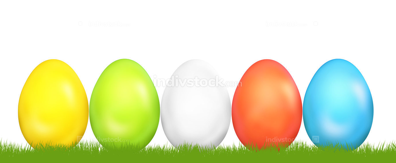 easter eggs and flat green grass 3d render