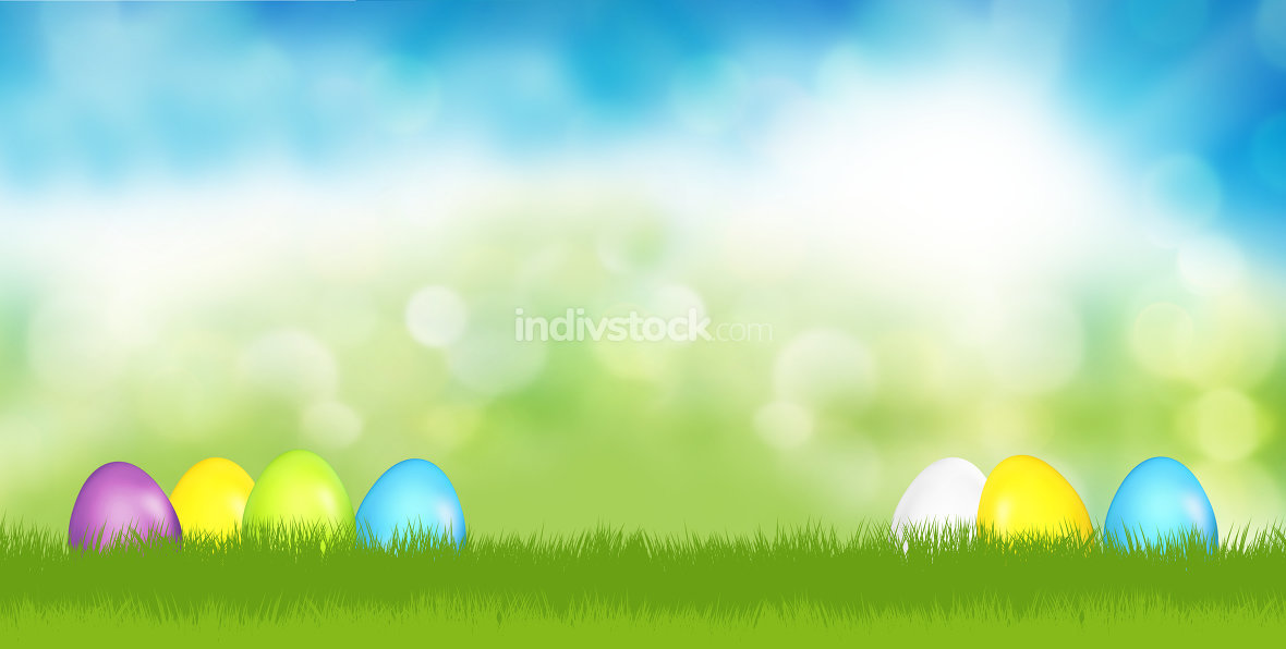easter eggs festive green grass blue sky 3d render