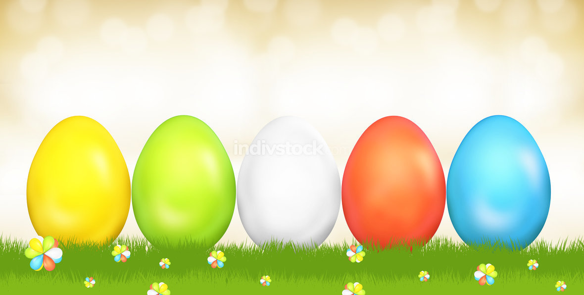easter eggs festive green grass golden sky 3d render
