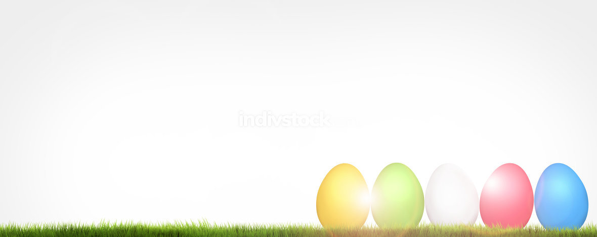easter eggs garden 3d render