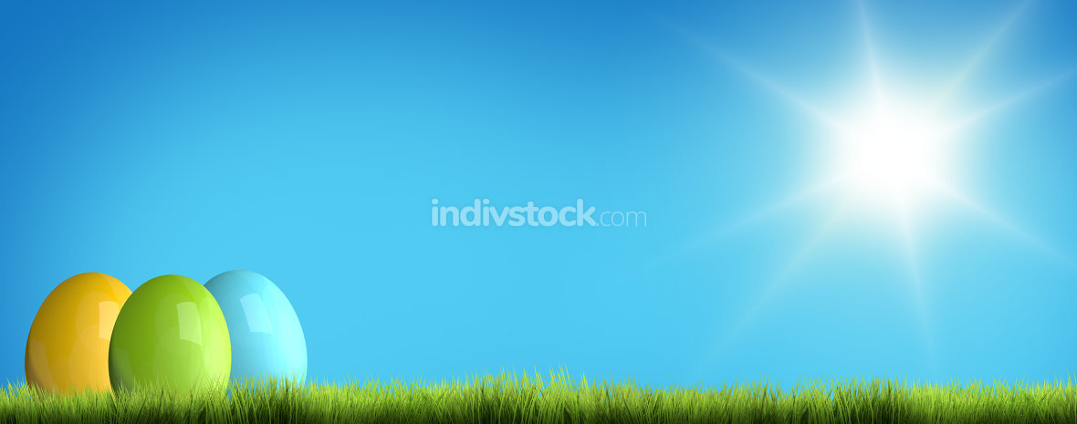 easter green grass blue sky 3D render