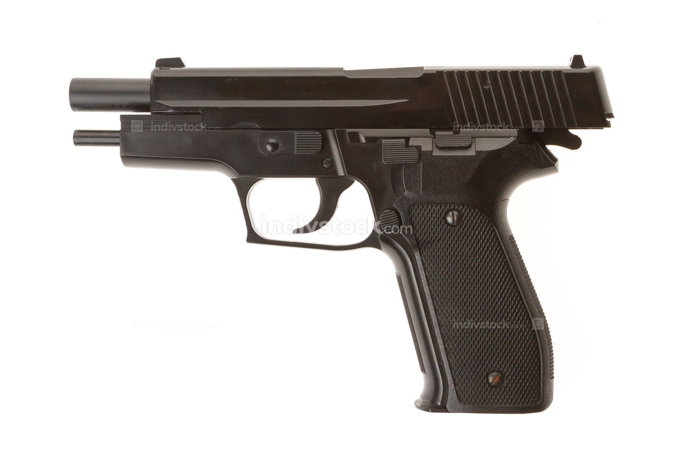 Empty semi-automatic gun isolated