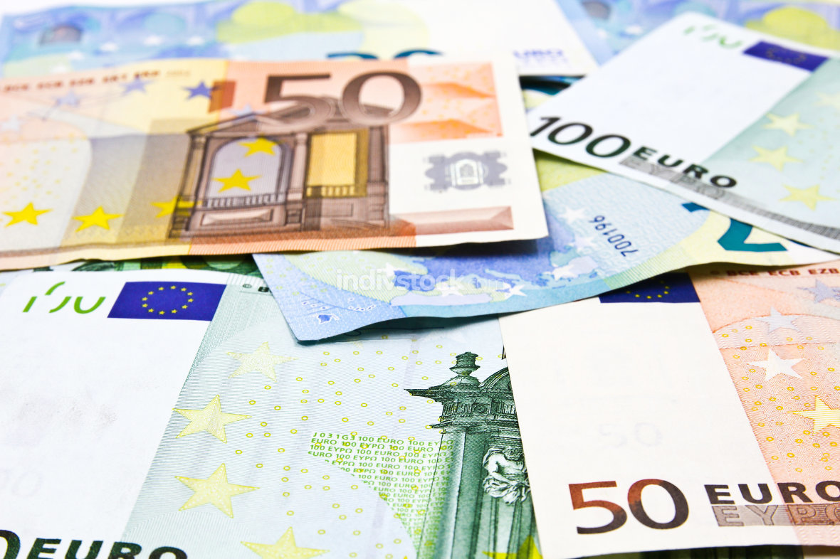 Euro banknotes, money background