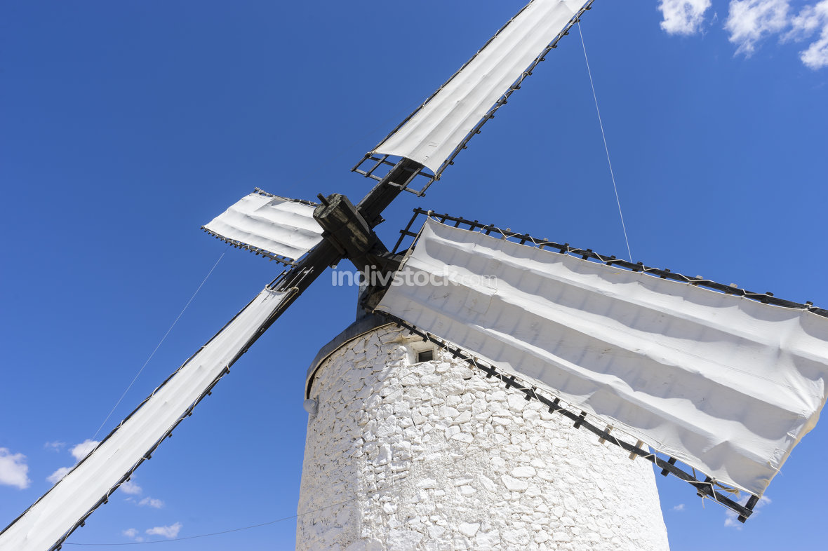 Europe, White wind mills for grinding wheat. Town of Consuegra i