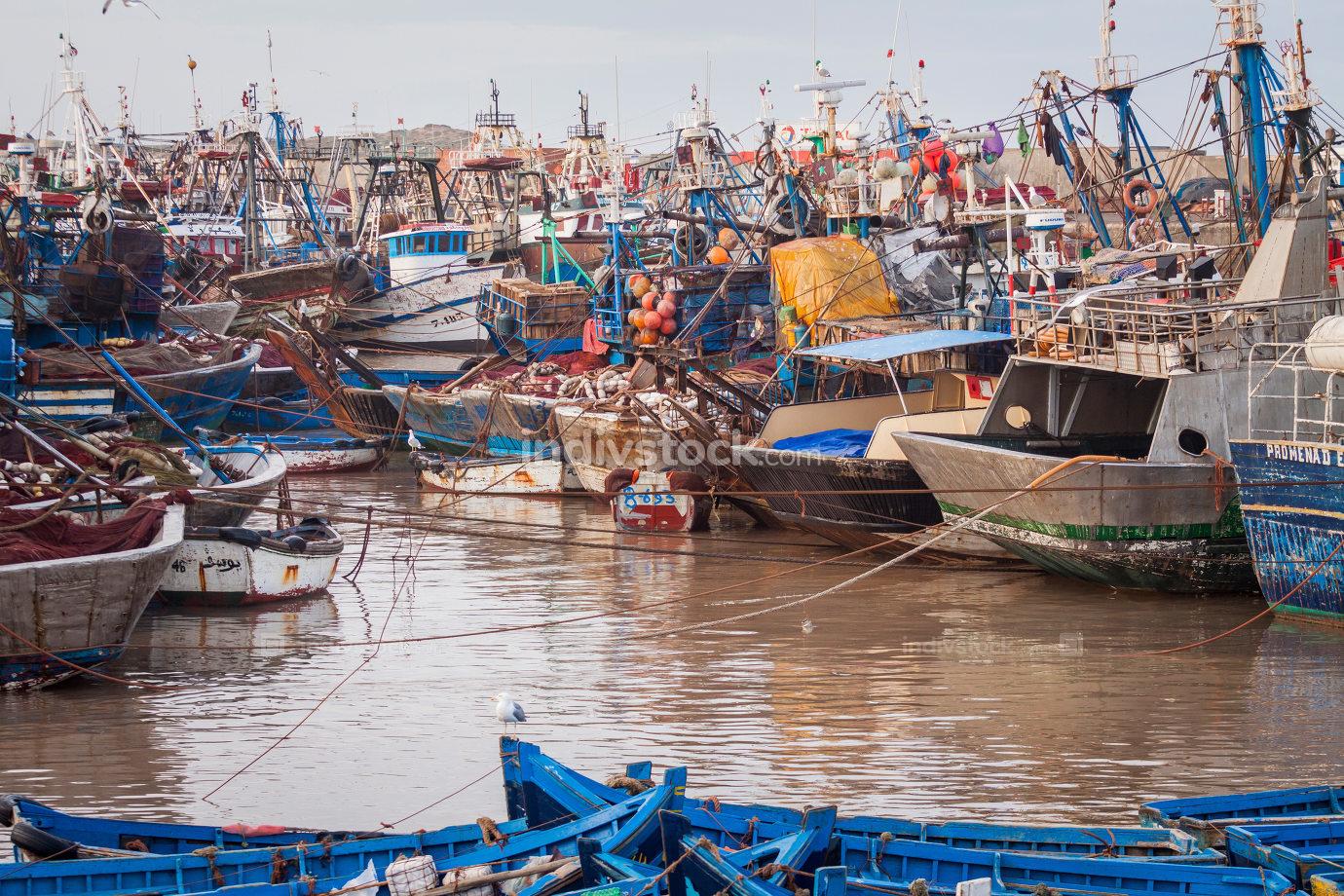 Fiishing boats in Essaouira, Morocco, Africa