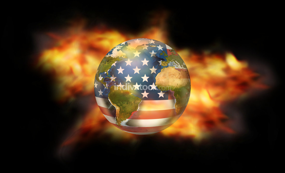 fire and flames USA. Elements of this image furnished by NASA.