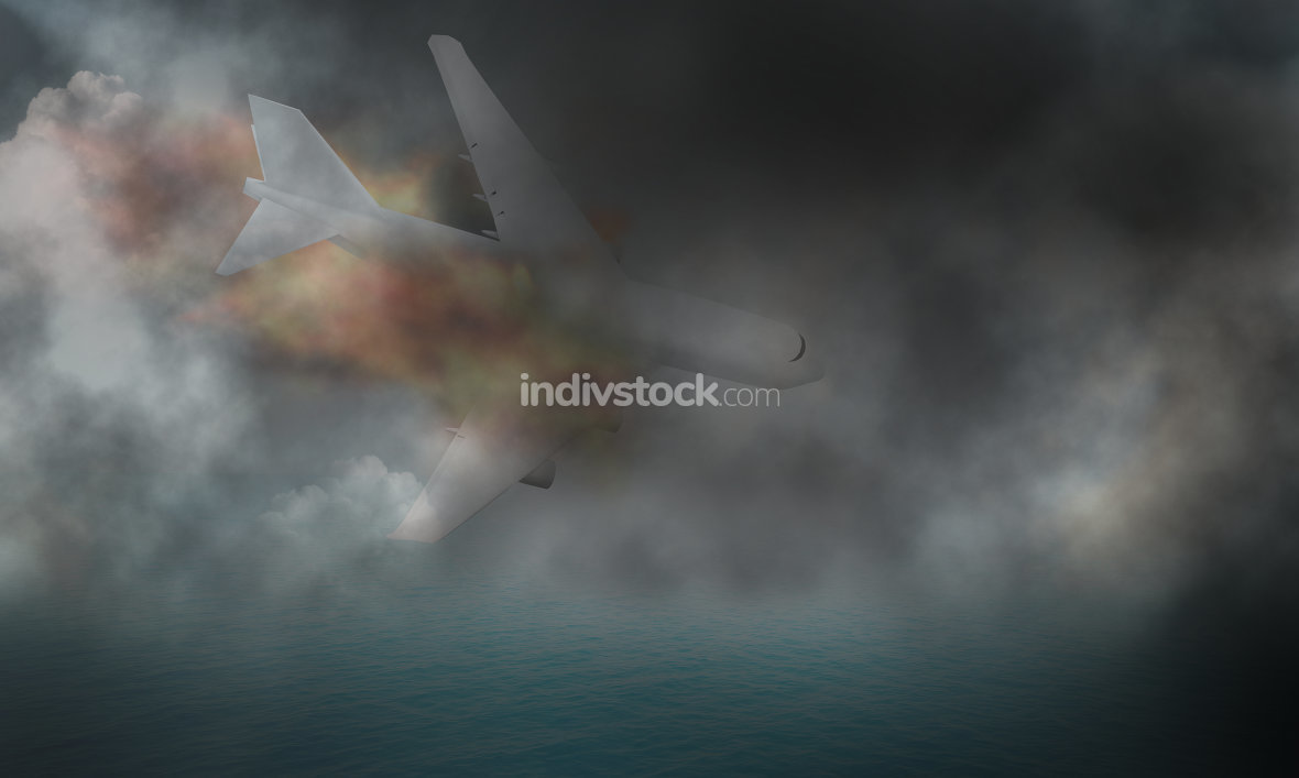 fire and plane crash 3d render