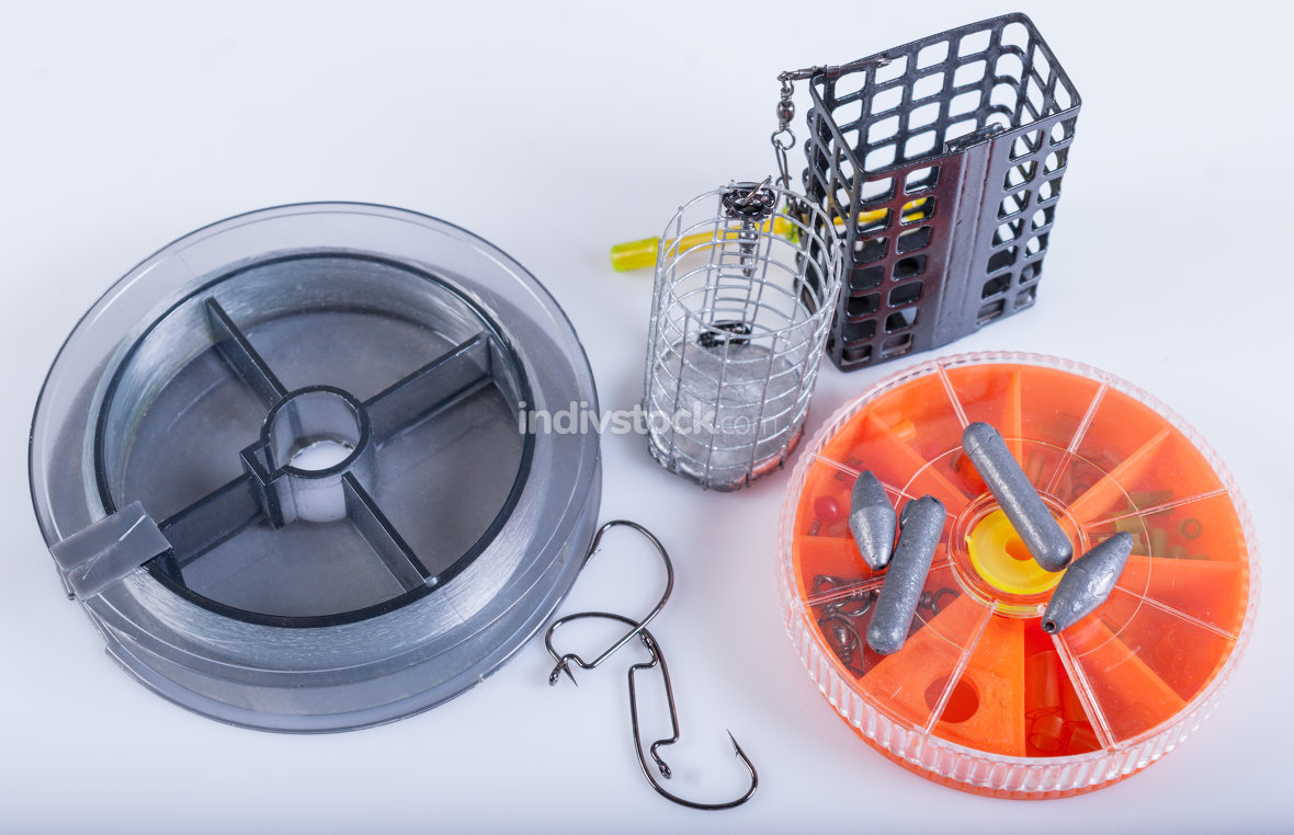 Fishing equipment. Fishing lines, hooks, sinkers and feeders