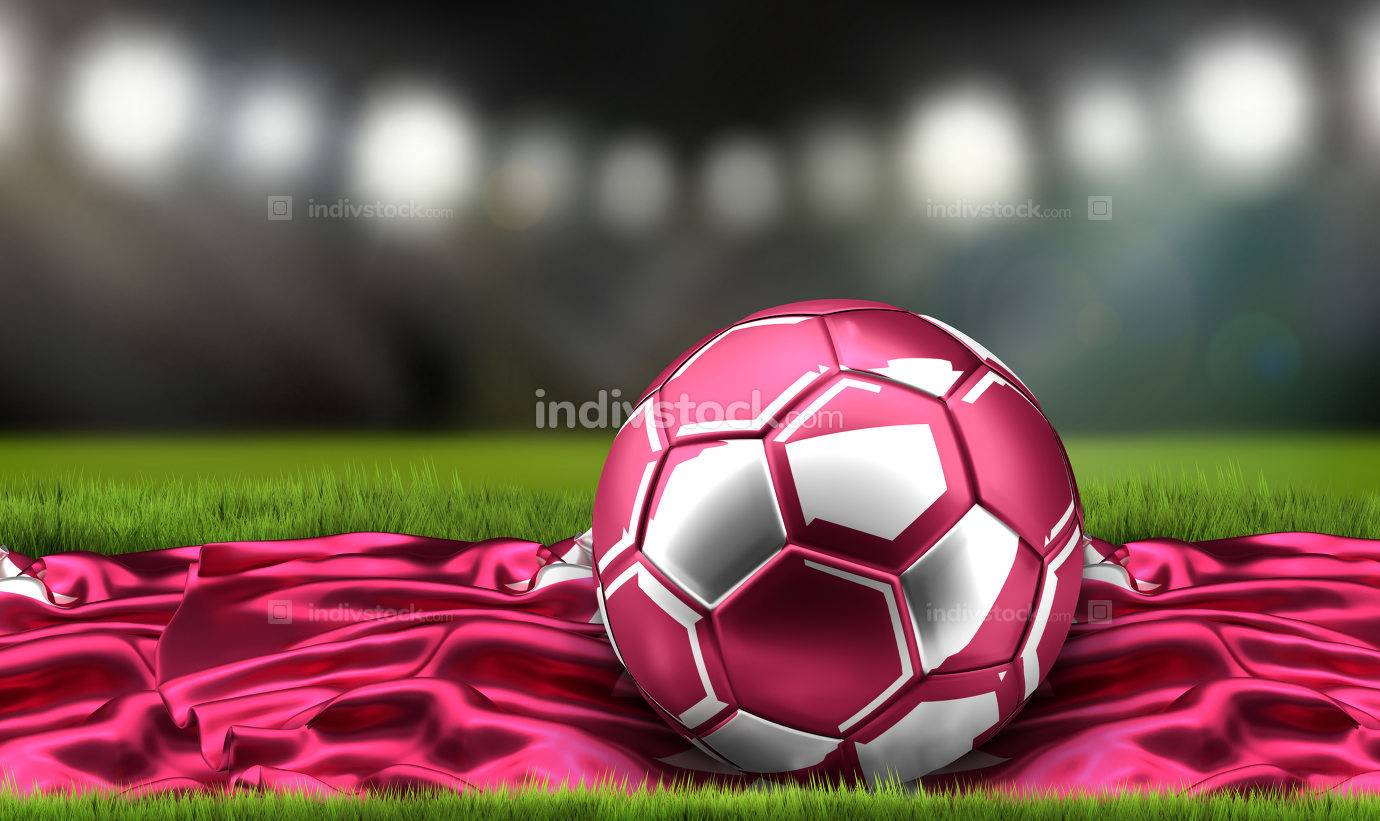 Flag of Qatar with Qatar soccer football and trophy. 3d renderin