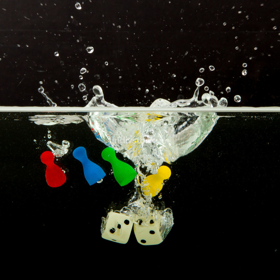 Four pions with splashing water