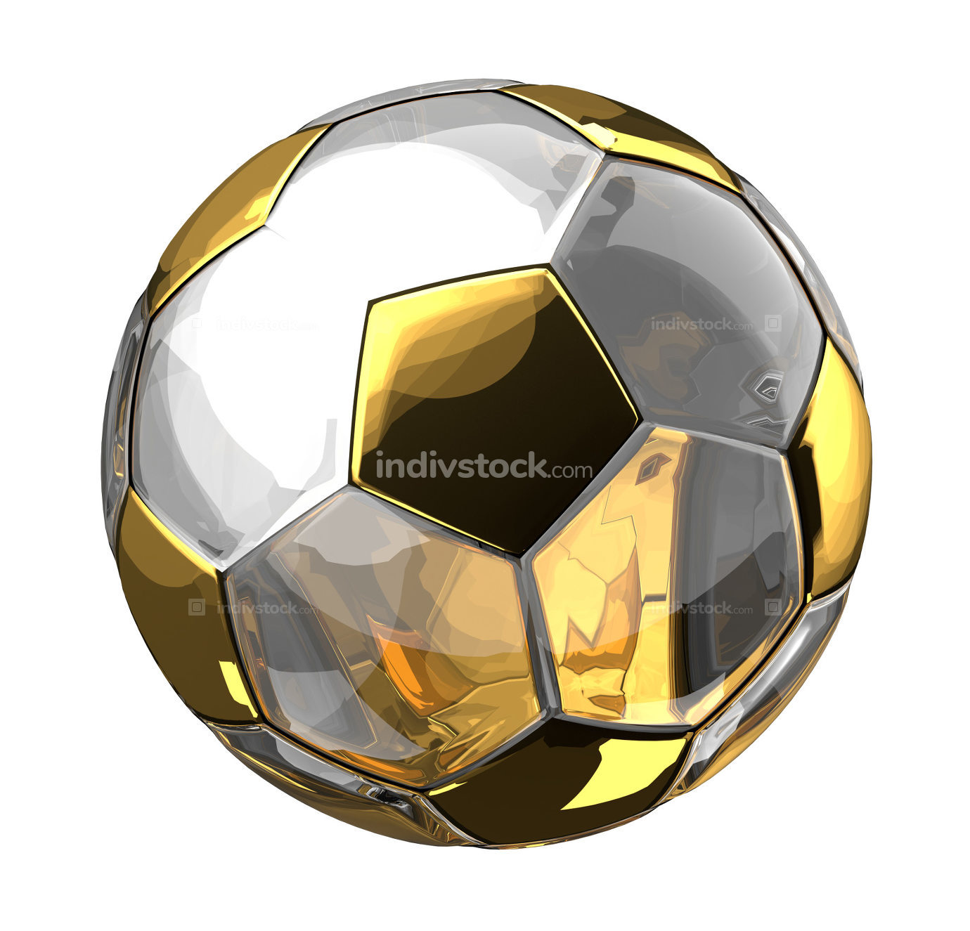 free golden soccer football ball 3d rendering