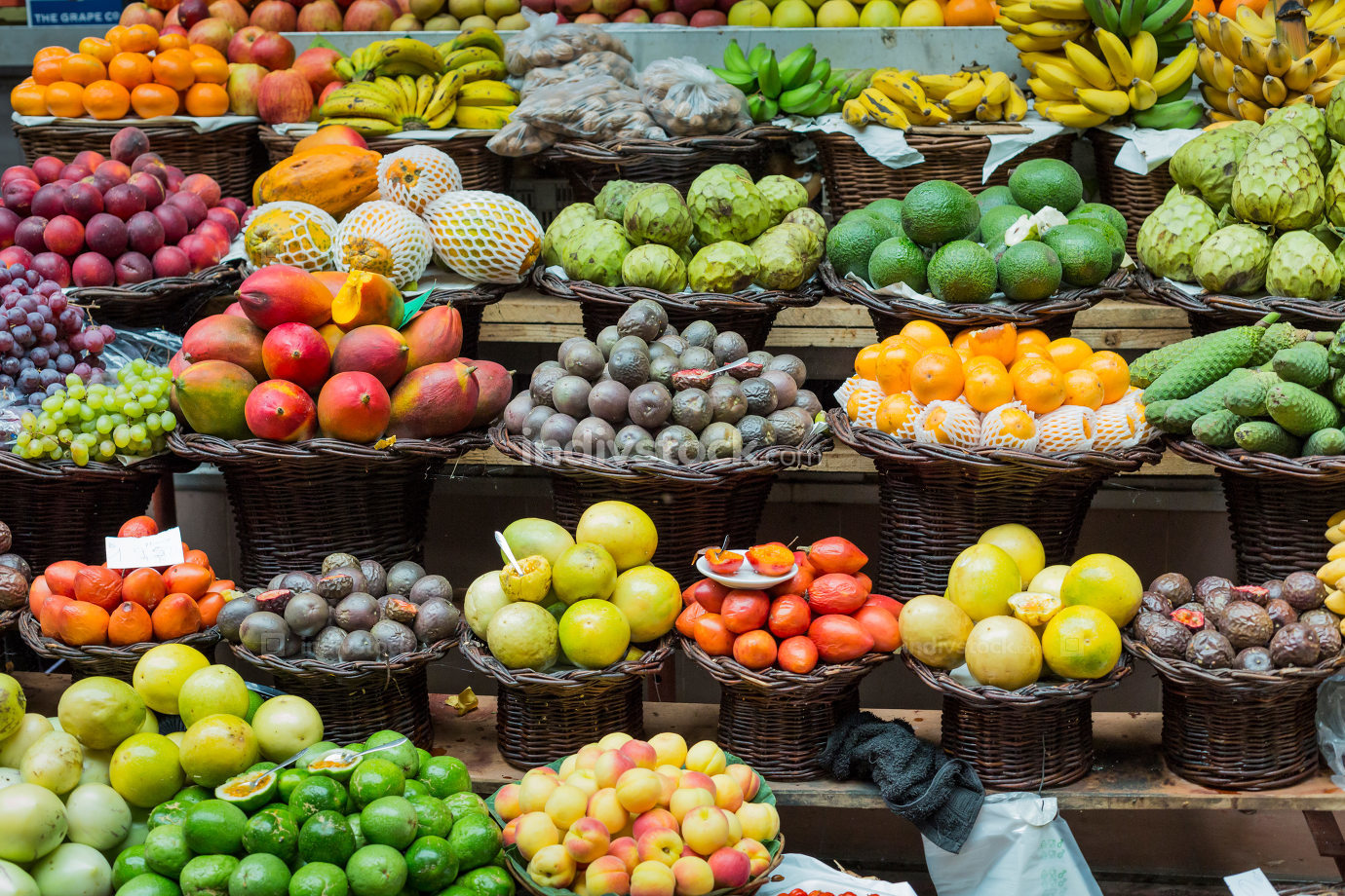 Fresh exotic fruits in Madeira Island, Portugal.