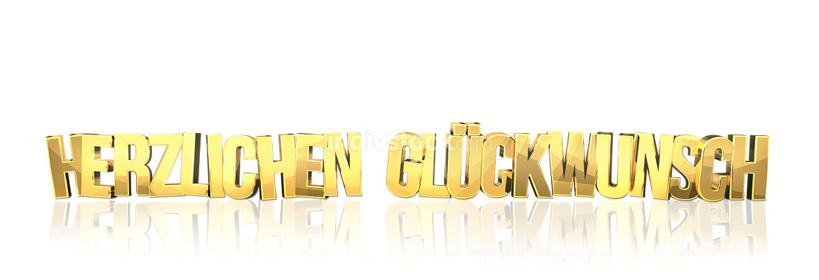 german language for congratulations 3d render golden isolated