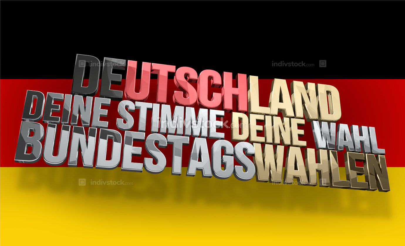 german language for Germany your voice your vote 3d render